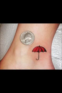 Little red umbrella tattoo Tattoo Band, Lyric Tattoos, 1 Tattoo, Ankle Tattoo, Tatoos, Rain Tattoo, Umbrella Tattoo, Piercing Tattoo, Piercings