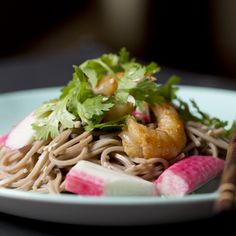 Scrumptious yet simple salad of soba, prawns and crab sticks.