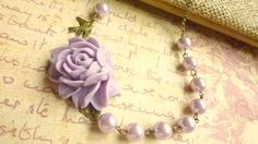 Flower necklace lilac purple necklace Vintage glass pearls and lilac rose Flowers For Mom, My Flower, Fabric Flower Necklace, Lilac Roses, Purple Necklace, Bead Caps, Brass Chain, Vintage Earrings, Fabric Flowers