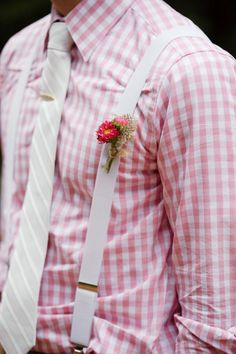 Pretty in Pink, Country Style, Groom suspenders, pink check // Country Rustic Barn Farm Wedding Ideas and Inspiration