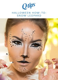 Need a last minute Halloween costume? Try this snow leopard makeup from @maryamnyc! Start with a matte foundation. Then apply black eyeliner to the top and lower lids as well as the waterline. Use a Q-tips cotton swab to apply a white eye shadow around the eye for a snowy look. Fill in brows with a charcoal eyeshadow using a Q-tips cotton swab with a accent swipe. Finish the look by applying a dotted pattern with Q-tips Precision tips on your forehead, outer eye, chin, and cheekbone.