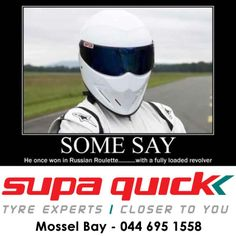 """""""Some say he once won in Russian Roulette... With a fully loaded revolver. All we know is, he's called The Stig"""" -Jeremy Clarkson #thestig #funny #supaquick"""
