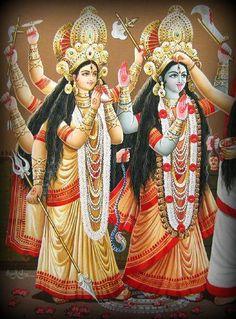 Dakshineshwari (blue) and possibly Chandi -- goddesses who are emanations of Kali.
