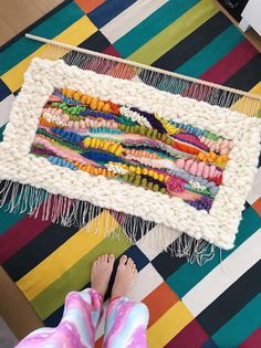 Eva's Doodlings Hand Woven Wall Hanging Tapesrty, Wall art, Home decor, made to order – Christ Stein – weberei Weaving Loom Diy, Weaving Art, Tapestry Weaving, Hand Weaving, Hanging Tapestry, Circular Weaving, Diy Laine, Art Fil, Weaving Wall Hanging