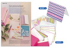 seen in Better Homes and Gardens Magazine! Color blocking is in: Pick your Mood Geometric Personalized Note cards and Colorful Hand Bordered Personalized Card Ensemble
