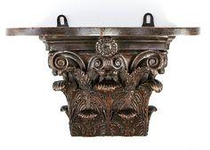 Antique Hand Carved Acanthus Capital for Corinthian Column, now a Bracket Shelf