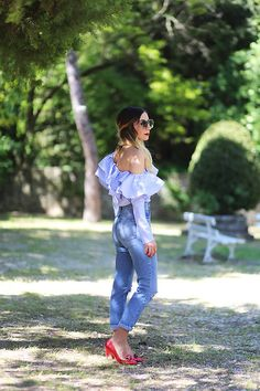 #chemisier #volants #ruffle #blogger #asos #denim #farleigh #jean #nimes #ootd #fblogger #outfitottheday #preppy #chic #bardot #top