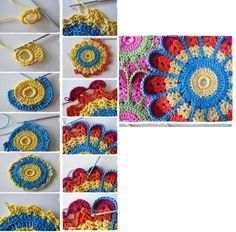 Block 6 from Circles of the Su Motif Mandala Crochet, Crochet Motifs, Crochet Quilt, Crochet Blocks, Crochet Flower Patterns, Crochet Diagram, Freeform Crochet, Doily Patterns, Crochet Squares