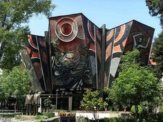 "The Polyforum Cultural Siqueiros in Mexico City. It was designed and decorated by David Alfaro Siqueiros in the 1960s and hosts the largest mural work in the world called ""La Marcha de la Humanidad"" (""The March of Humanity"")."