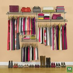 Make the most of your closet space with a Rubbermaid® Configurations® 4'–8' Titanium Classic Closet Kit. Featuring telescoping rods and expanding shelves, this easy-to-install system provides up to 14' of shelving space and 12' of hanging space. Plus, you can always add extra Configurations® accessories to accommodate your closet space.