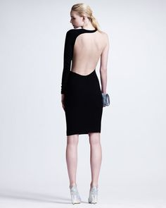 Back view!  I wish that I could afford this!    Contoured Mesh-Inset One-Sleeve Sheath Dress - Neiman Marcus