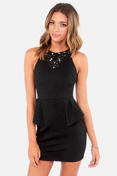 Sexy Black Dress - Peplum Dress - Beaded Dress - Little Black Dress - $42.00