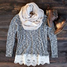 boho chic bohemian sweater tunic crochet lace boho scarf sweater boots booties boot bootie shoes hippie southern country warm and cozy