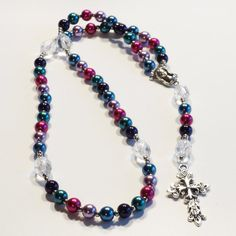 MULTI-COLORED Handcrafted Catholic Saints Rosary Necklace Beaded Chain by dunglebees. Explore more products on http://dunglebees.etsy.com