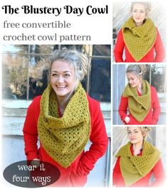The Blustery Day cowl is a fun new design that can be worn in 4 different ways. This free convertible crochet cowl pattern features an interesting twist on a decrease stitch to create a look similar to a V-stitch, but worked in a very different way. This Unique cowl is the perfect accessory for when you have a blustery day but you still want to look amazing.