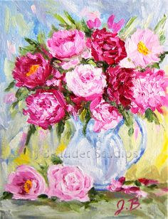 Original Peonies Impressionist  Floral custom oil painting pink flowers yellow grayish blue background by J Beaudet