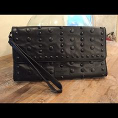 """BCBG MAXAZRIA CLUTCH HANDBAG WRISTLET PERFECT condition, wardrobe essential, roomy clutch. This is such a cool bag. This is for the stylish woman that knows her fashion. 11.5"""" X 7"""" BCBGMaxAzria Bags Clutches & Wristlets"""