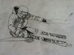 Skier drawing Ski Drawing, Pixel Drawing, Drawing Sketches, Drawing Ideas, Skiing Tattoo, Small Tattoos, Tattoos For Guys, Drawing Competition, Mountain Drawing