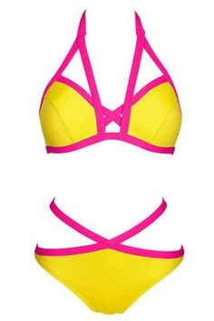 Sexy Neon Red Green Yellow Criss Cross High Waist Bandage Bikini Set Swimsuit Triangle Top Brazilian Bottom Swimwear Women