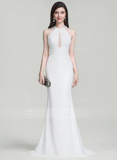 [US$ 119.99] Trumpet/Mermaid Scoop Neck Sweep Train Chiffon Evening Dress With Ruffle Beading (017105917)