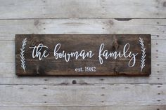 "Wood family established sign - 7.25""x24"", dark walnut with vines, family sign, personalized sign, last name sign, rustic decor, wedding by MagnoliaBlushDesigns on Etsy https://www.etsy.com/listing/276414430/wood-family-established-sign-725x24-dark"