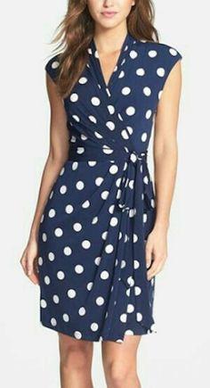 loving this navy polka dot dress 0c3840e82bc1a