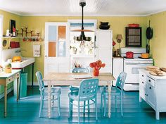 farmhouse kitchens with lots of color and attitude!