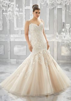 Julietta Bridal by Morilee 3221 Style name: Musetta Crystal Beaded, Embroidered Appliques on Tulle Mermaid Gown Over Sparkle Net Wedding Dresses Photos, Wedding Dresses Plus Size, Plus Size Wedding, Bridal Wedding Dresses, Wedding Dress Styles, Designer Wedding Dresses, Bridesmaid Dresses, Wrap Dresses, Linen Dresses