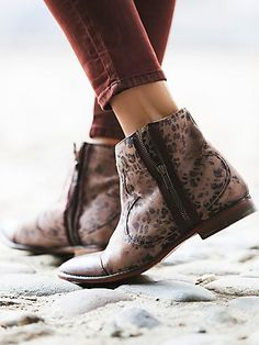 Balta Boot | Washed out print leather ankle boots with contrast leather piecing over toe. Both sides feature functioning edgy, raw-trimmed zip closures for versatile styling and easy on-off. Leather soles. *By Free People