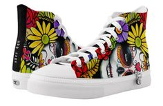 Shop Sugar Skull Vibrant High-Top Sneakers created by NDGRags. Best Mens Fashion, Style Fashion, Floral Skull, Custom Sneakers, Sport Wear, Men's Shoes, Footwear Shoes, Elephant Gifts, Sugar Skull