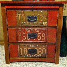 End table with license plate front.