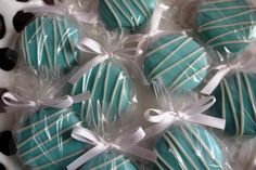 12 Baby Blue Chocolate Covered Oreo Edible Favors It's a Boy Baby Boy Shower Tiffany Blue Wedding Bridal Shower Favors. $15.00, via Etsy.