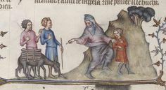 Abraham partant pour le sacrifice.  Bible traduite en français par Jean de Sy Auteur : Jean de Sy. Traducteur Date d'édition : 1400-1500
