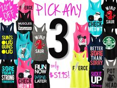 3 WORKOUT Fitness Tank Tops 20% OFF Bundle Deal