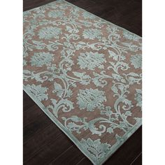 Machine Made Floral Pattern Brown\Blue (9x12) Area Rug - Overstock™ Shopping - Great Deals on 7x9 - 10x14 Rugs
