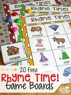 Fun rhyming activity for preschool or early FREE Rhyme Time Game Boards. Fun rhyming activity for preschool or early kindergarten! Rhyming Activities, Preschool Activities, Literacy Games, Preschool Printables, Rhyming Preschool, Prek Learning Games, Phonics For Preschool, Nursery Rhyme Activities, Games For Preschoolers