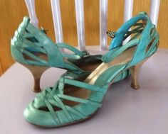 Topshop Ladies Jade Blue Turquoise Shoes Size 4 Excellent Condition