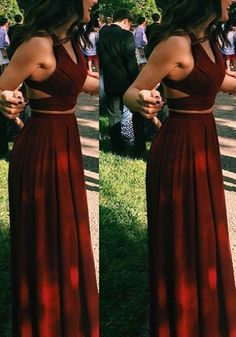 Hot Selling Two Piece Burgundy Chiffon Prom/Evening Dress