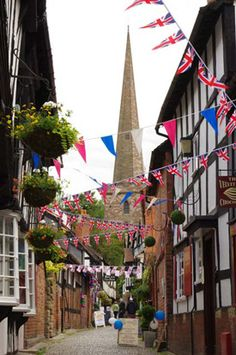 Church Lane in Ledbury, Herefordshire, UK, abounds with Medieval, Tudor and Georgian buildings