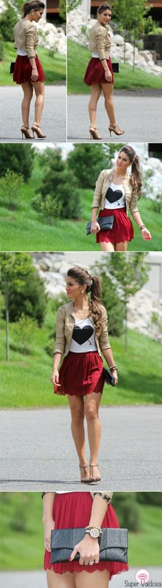 very cute color combo. love the little beige jacket. Spring outfit!