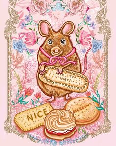 Illustration by Katie Craven   www.katiecraven.co.uk    Be as quiet as a 🐀 whilst squirreling away all of the best biscuits for snack time (to keep for yourself...) demonstrated by the cutest little mouse ever! 💕 Wishing you all a wonderful Tuesday!    #KatieCraven #mouse #illustration Mouse Illustration, Scarf Design, Squirrel, Fashion Brand, Tuesday, Biscuits, Good Things, Snacks, Cute