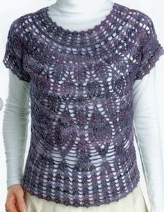 """Crochet Knitting Handicraft: LILAC VEST WITH ROUND """"Pineapple"""""""