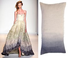 stunning gown by Lela Rose Spring 2011 and fantastic pillow from abc home