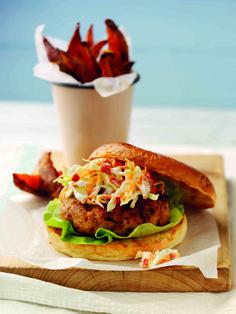 Pork & Chorizo Burgers with Jalapeno & Yoghurt Slaw