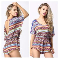 """Sexy Aztec Print Romper Beautiful mix of colors in an Aztec print  Bat sleeve / open back  Polyester  Loose fit Drawstring at waist  Waist: 41.73""""/ hips: 49.61""""/ length: 29.53"""" B Chic Pants Jumpsuits & Rompers"""