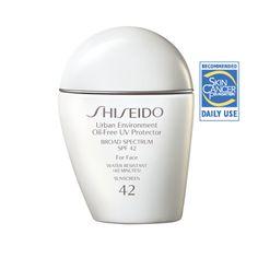 Shiseido Urban Environment Oil-Free UV Protector (Shiseido, $30.00) - SPF 42, PA+++, for face, water resistant.