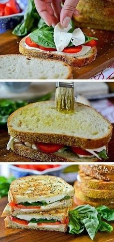 Grilled Margherita Sandwiches - Taking a favorite pizza and turning it into a deliciously different grilled cheese with fresh mozzarella, basil and tomatoes.