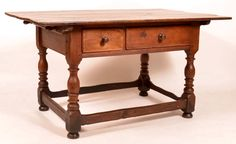 """Conestoga Auctions -  Harry B. Hartman Estate Auction - Session II  May 16, 2015.  Lot 713.      Estimate: $2,000 - $3,000. Realized: $4,235.   Description:  Pennsylvania Queen Anne Stretcher Base Farm Table. Pin top, two lip molded drawers, vasiform and ring turned legs, stretcher base. 30""""h. x 56""""w. x 35""""d. Condition: Good, expected wear, some stains and burns to top."""