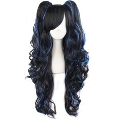 Hairjoy Woman Harajuku Ombre Cosplay Wavy Wig High Temperature Fiber Synthetic Hair 80cm Long Finely Processed Hair Extensions & Wigs