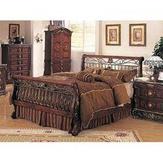 Wood And Metal Bedroom Furniture : metal sleigh bed  Bourdeax Brown Wood & Metal Queen Size Sleigh Bed ...